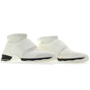 Chanel White Stretch Knit Speed High Sneakers